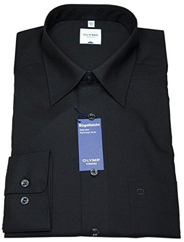 OLYMP Tendenz Herren Business- und Freizeit Hemd Langarm Regular Fit normale Schnittführung mit Basic Kent Kragen- Gr. 39, Schwarz