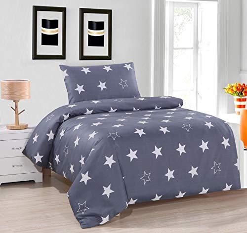 Febe Bettwäsche Sterne Bettbezug Stern 135x200 cm Baumwolle Grau Weiß mit Verschluss