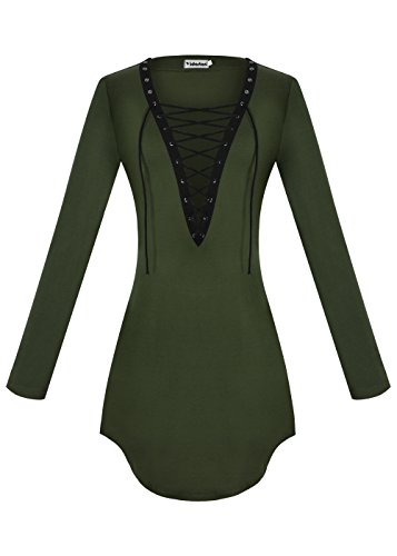Yidarton Damen Minikleid Lace-up Lange Ärmel Tiefe V-Ausschnitt Mini Hemdkleid Tops Bluse Grün