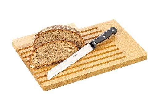 Esmeyer 291-386 Brotschneidbrett BEN aus Bambusholz   mit Längsrillen, inkl. Brotmesser,  Klinge aus Spezialstahl,