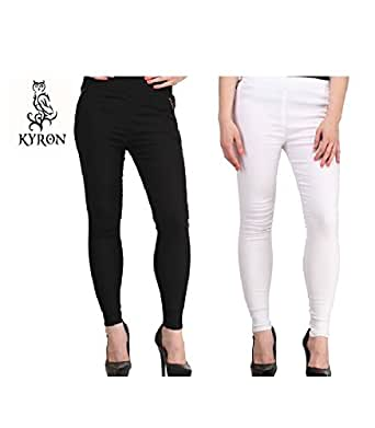 KYRON FASHION ANKLE ZIPPER STRETCH SKIN FIT JEGGING (Black and white, 34)