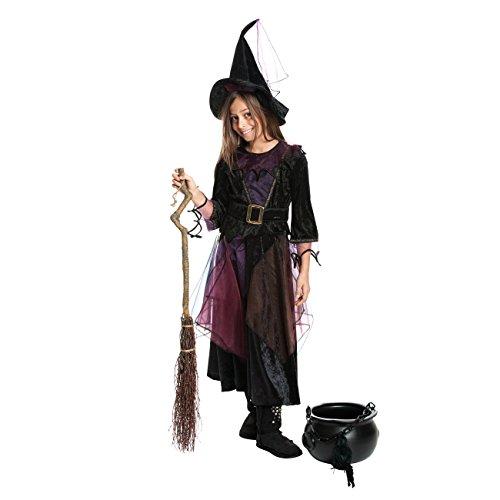 Kostüm Mädchen + Hexen-Hut Kinder Kostüm Hexe Kinderkostüm Halloween und Fasching Farbe lila Größe 128 (Mädchen Magische Hexe Kostüme)