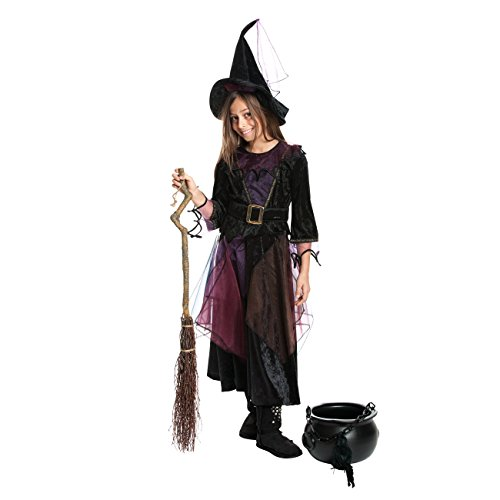 n-Kostüm Mädchen + Hexen-Hut Kinder Kostüm Hexe Kinderkostüm Halloween und Fasching Farbe lila Größe 128 (Kinder Hexe Kostüm)