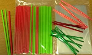 "50 x 150mm (6"") Red & Green Christmas Cake Pop Lollipop Kit Included Cello Bags & Twist Ties"