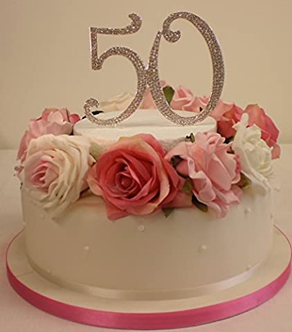 50e anniversaire ou anniversaire de mariage pour gâteau. Nombre Extra Large 12cm Argenté avec strass étincelants