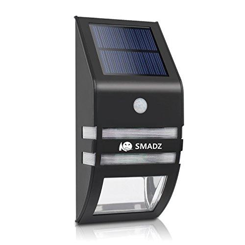 SMADZ SL72 Fashion solarbetriebene Gartenleuchten Wasserdicht Edelstahl Motion Sensor Sicherheit Terrasse Deck Yard Garten Einfahrt Treppen Aussen Wand Wegeleuchte (warmes Licht)