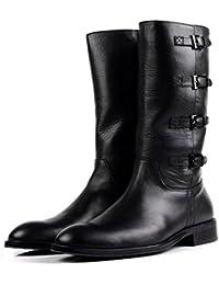 Hombres Alto Rodilla Caballero Botas Otoño Invierno Martín británico Cuero Zapatos Lado Cremallera ...