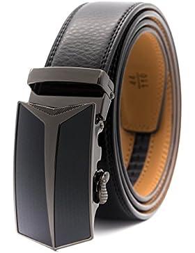 GFG Cinturón de cuero para hombres con hebilla automática 35mm Ancho