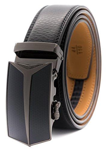 GFG Herren Gürtel,Leder Automatik Gürtel Für Herren Jeans Anzug Gürtel-3,5cm Breite-0016-125-Schwarz