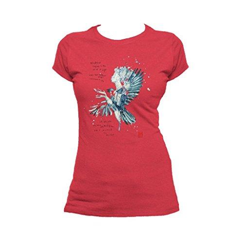 Beatles David Mack Blackbird Official Women's T-Shirt (Red) (Large) -