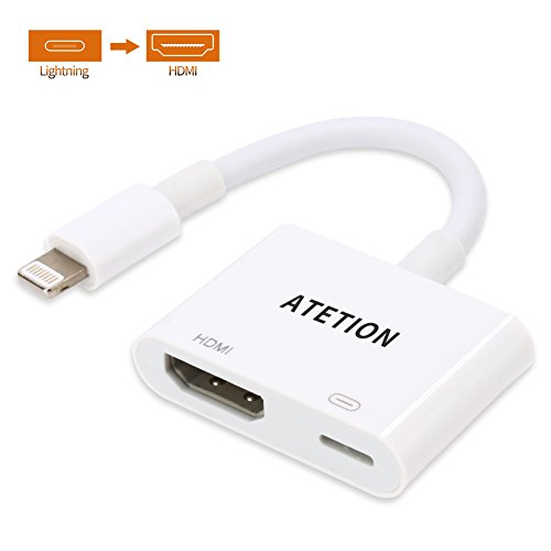 ATETION Lightning HDMI Kabel,1080p HDMI Video AV-Kabel Stecker Gerät HDTV Adapter für iPhone X/8/7/6/5 Serie, Pad Air/Mini/Pro(Unterstützung IOS 11 - Lightning-Port muss verbunden - Ipad Mini-hdmi-auf-hdmi-kabel Für