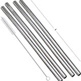 #8: Prisha India Craft Eco-Friendly Stainless Steel Plain Drinking Straight Straws, Best for Parties, Barware, | Set of 4 | Length 8 INCH