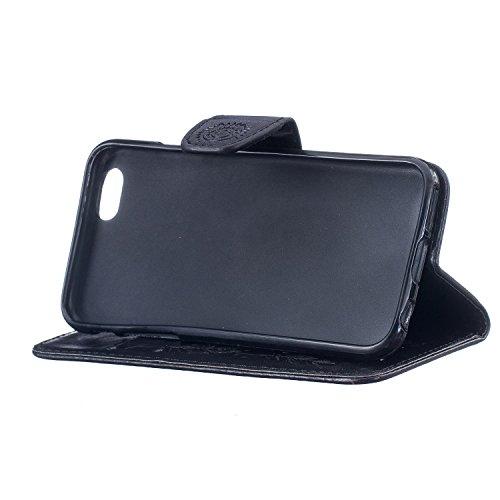 FESELE Coque iPhone 6 Plus / 6S Plus,Campanule Embossé Housse iPhone 6 Plus / 6S Plus,iPhone 6 Plus / 6S Plus Coque à Rabat Magnétique Housse Etui de Protection Ultra Slim Mince Anti Choc Pure Leather Noir
