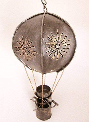 Double Duck Hot Air Ballon Forme Bougie Chauffe Plat Support, L - 43 cm Haute, Finition Argent
