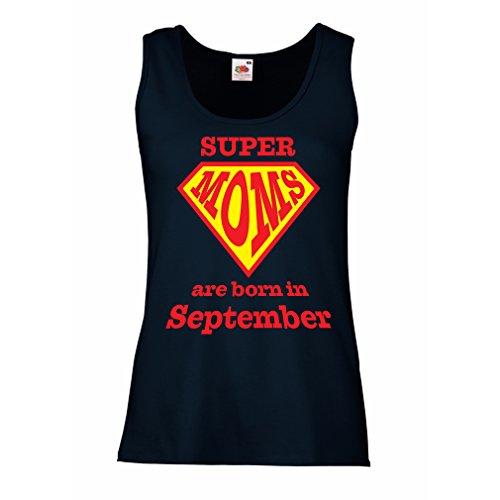 Damen Tank-Top Super Moms sind im September geboren - Geburtstagsgeschenke für Mama (Large Blau Mehrfarben) (Fitted Braut Tank-top)