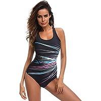 Bañador de Bikini One Piece Talla Grande para Playa Mujer, LILICAT® Bikini Trajes de Baño Acolchado Push Up con Estampado Ray, Baño de Monokini (3XL, Multicolor)