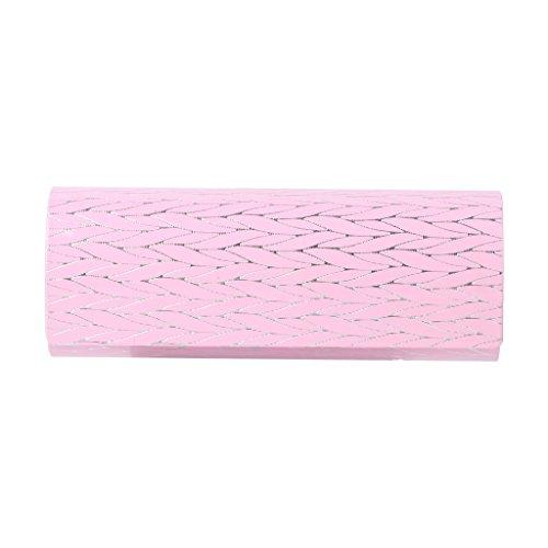 Faux-leder-lagerung (Cuigu Gläser Box - Faux Leder Folding Wooden Stripe Glasses Schutzfolie Brillen Lagerung (Rosa))