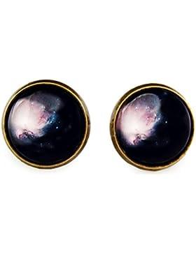 Miss Lovie Ohrstecker Galaxy Raum Universe Ohrringe Cabochon 12mm Modeschmuck Schmuck Blue 12mm Bronze