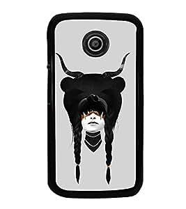FUSON Sensual Girl Horns Halloween Designer Back Case Cover for Motorola Moto E :: Motorola Moto E XT1021 :: Motorola Moto E Dual SIM :: Motorola Moto E Dual SIM XT1022 :: Motorola Moto E Dual TV XT1025