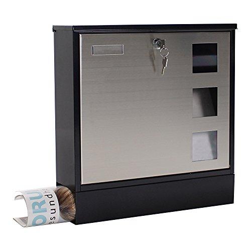 Rottner Briefkasten Design Mailbox schwarz, Tür aus Edelstahl, integrierte Zeitungsrolle, Namensschild, Sichtfenster, Zylinderschloss