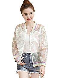 Weimilon Cazadoras Perspectiva Mujer Verano Joven Chic Abrigos Chaqueta  Respirable Bonita Outerwear Jacket con Cremallera Manga 2dd67341cd76