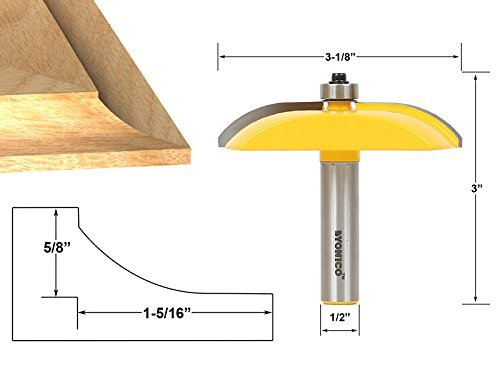 Yonico 12133 Raised Panel Router Bit with Cove Door 3-1/8-Inch Diameter 1/2-Inch Shank by Yonico -