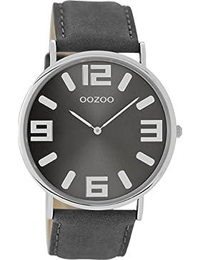 Oozoo Vintage Damenuhr Lederband 42 MM Silbergrau/Grau C8842