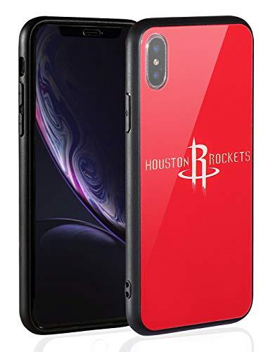 Sportula NBA Handyhülle - 9H gehärtetes Glas Backcover Silikon Gummi Bumper Rahmen kompatibel Apple iPhone X/iPhone XS, 5.8 inch, Houston Rockets