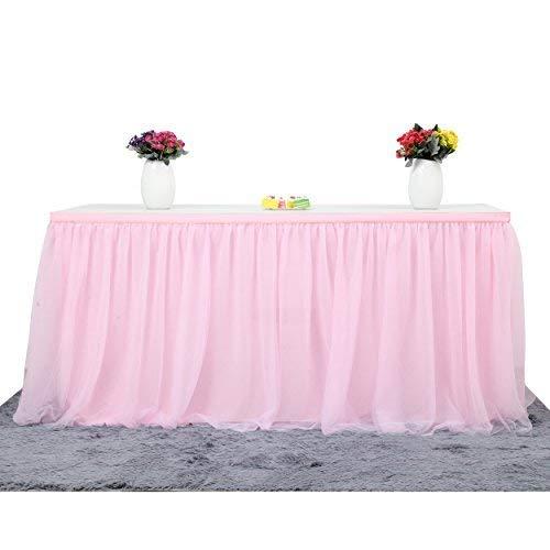 Best-Bag Gonna da Tavolo in Tulle 100cm x 80cm Tovaglia per Gonna da Tavolo Tovaglia per Decorazioni da tavola per Matrimoni (Rosa)