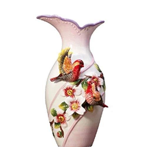 Vase Fleur Bouteille européenne Accueil créatif Eau réservoir Affichage Couple Oiseau Cardinal en céramique Haute Vase décoration Ornements (Color : Blanc, Size : 10 * 15 * 29cm)