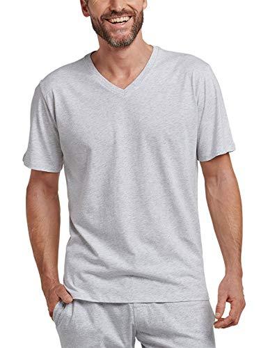 Schiesser Herren Mix & Relax T-Shirt V-Ausschnitt Schlafanzugoberteil, Grau (Grau-Mel. 202), X-Large (Herstellergröße: 054)
