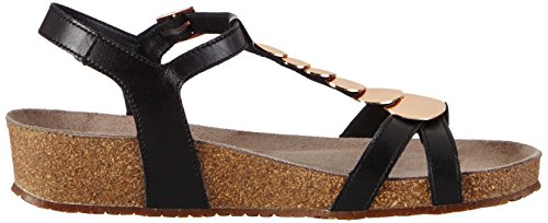 Mephisto Irma Cigale 6200 Black, Wedge T-sandales boucle femme Noir (Black)
