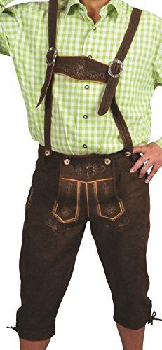 Trachtenlederhose Herren- Damen Kniebundlederhose -Trachten Lederhose mit Träger in Braun- Trachtenhose Knielang mit Träger und Stickerei aus Leder Optik Velours (48, Braun)
