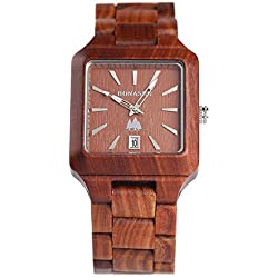 BS® Handmade Wooden Watch Japanese Quartz Movement Wood Wrist Watch With Natural Red Sandalwood A Great Gift BNS-110B