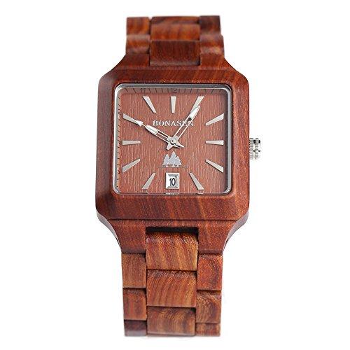 BS® handgefertigt Holz Armbanduhr Japanisches Quarzuhrwerk Holz Armbanduhr mit Natur Rot Sandelholz ein tolles Geschenk bns-110b (Bambus-leder Tasche)