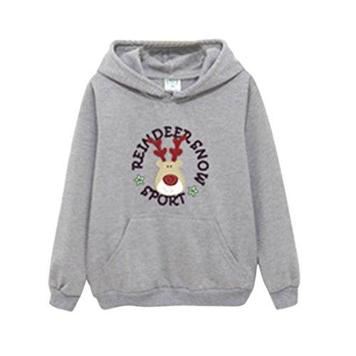 Vertvie Ensemble Vêtement de Famille Père Mère Enfant Sweat-Shirt à Capuche Fleece Tops Imprimé Cerf Noël Automne Hiver Adulte Gris