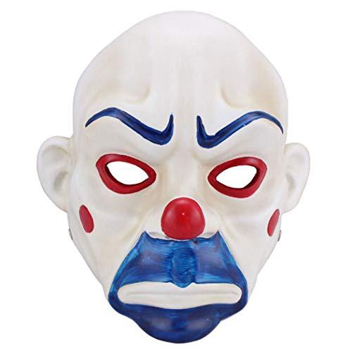 Joker Mask von Batman The Dark Knight Bank Raub-Szene-Adult High-Grade-Harz Joker Bank Raub-Maske Clown Batman Dark Knight Halloween Prop (Joker Heist Kostüm)