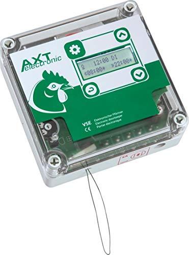 AXT-Electronic VSE - Automatische Hühnerklappe, Wochenendfunktion, Dämmerungsverzögerung, Displ. beleuchtet, 4xAA B