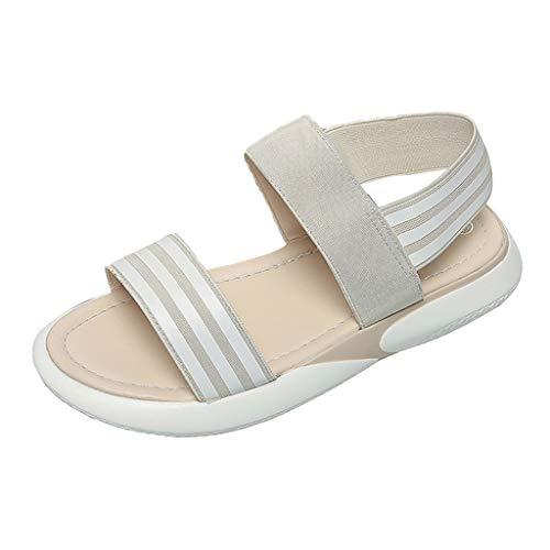 Reasoncool Damen Sommer Sandale,Mode Frauen Schuhe Stretch Stoff Frauen Casual Sandalen Mode Strand Sandalen