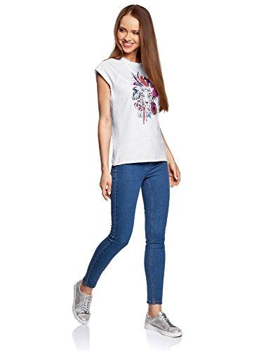 oodji Ultra Donna T-Shirt in Cotone con Stampa Senza Etichetta con Orlo Grezzo Bianco (1019P)