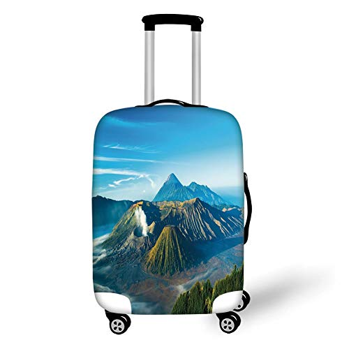 Travel Luggage Cover Suitcase Protector,Volcano,Mount Bromo Volcano During Sunrise in East Java Indonesia Majestic Nature,Sky Blue Green White,for Travel Java Tv