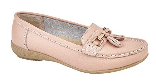 Donna ballerine pelle Deck mocassini barca scarpe da guida con bar & nappe taglia UK 3–8 Blush