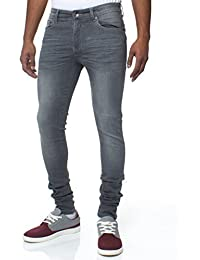 ENZO Hommes SUPER Pantalon Jeans Slim Fit Rétro Extensible