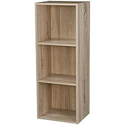 Étagère en bois à 1, 2, 3, 4étages, bibliothèque, vitrine, unité de rangement, Antique Oak, 3 étages