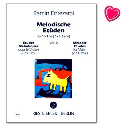 Melodische Etüden Band 2 für Violine - Autor Entezami Ramin - Notenbuch mit bunter herzförmiger Notenklammer - RE00093 9790013000937