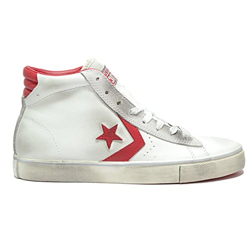 CONVERSE ALL STAR CT PRO LEATHER MID BIANCO-ROSSO VNTG 155098C - 40, BIANCO