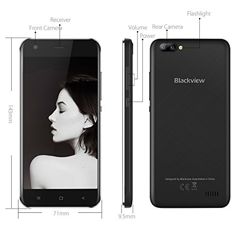 Dual Rear Camera Mobile Phone, Blackview A7 Dual SIM Free Cheap Phone Andriod 7.0 OS, Double 5MP+0.3MP Rear SAMSUNG Camera Lens, 5.0 Inch HD 1280*720 Display, 8GB ROM 2800mAh 3G Unlocked Smartphone-Black