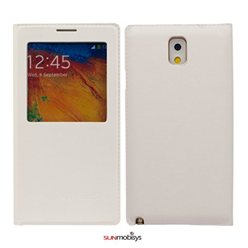 Sun Mobisys Caller Window Flip Cover For Samsung Galaxy Note 3 N9005 White