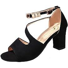 BBestseller sandalias de mujer tacones altos,Sandalias femeninas ocasionales de verano Zapatos de tacón grueso cómodos sandalias salvajes de la manera ligera(RU35-40)