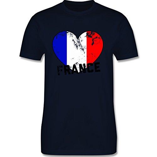 EM 2016 - Frankreich - France Herz Vintage - Herren Premium T-Shirt Navy Blau